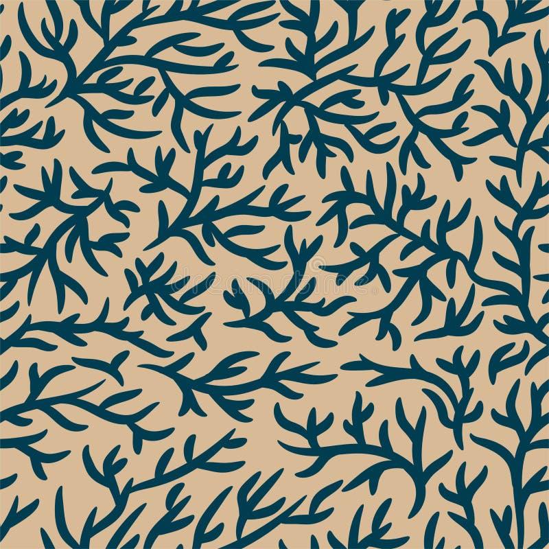 蓝色和浅褐色的分支样式 破裂的作用 r 对织品,纺织品,设计,给横幅做广告 向量例证