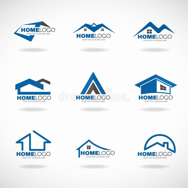 蓝色和灰色家庭商标集合传染媒介设计 皇族释放例证