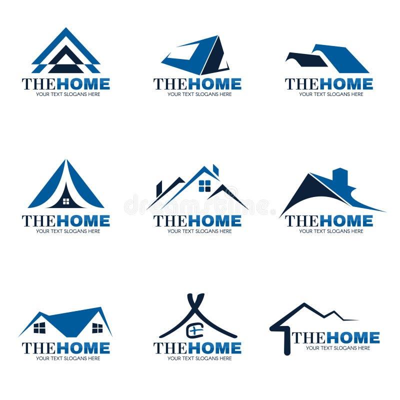 蓝色和灰色家庭商标集合传染媒介设计 向量例证