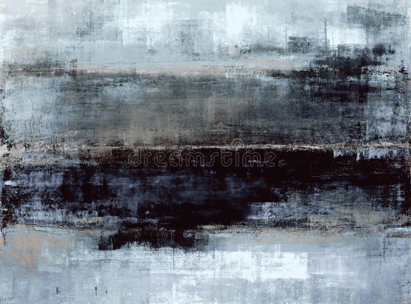蓝色和灰色抽象派绘画 皇族释放例证