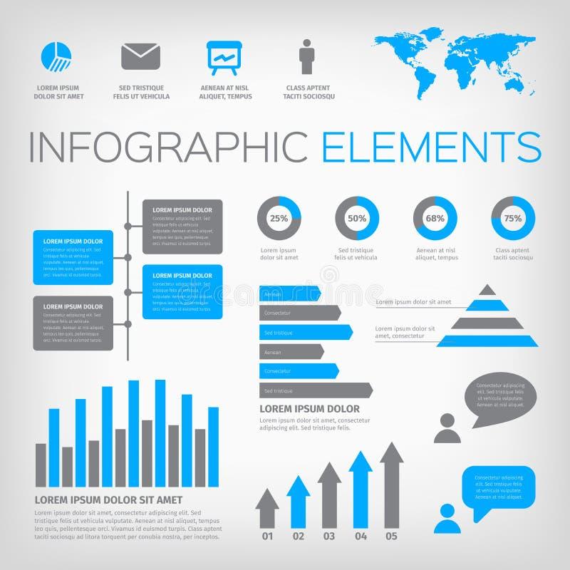 蓝色和灰色infographic元素 向量例证