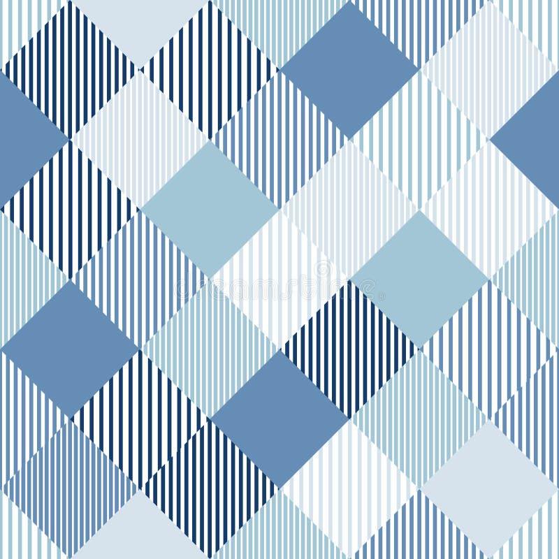 蓝色和白抽象简单的验查员镶边了几何无缝的样式,传染媒介 向量例证