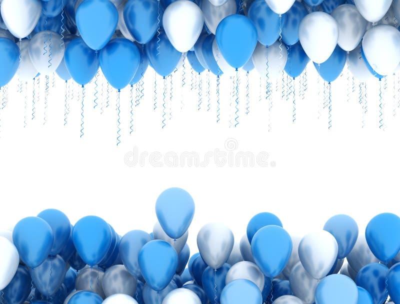 蓝色和白色党气球 皇族释放例证