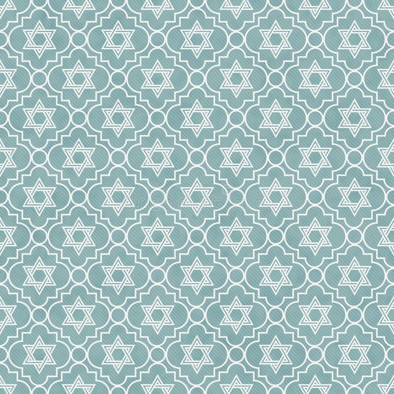 蓝色和白色大卫王之星重复样式背景 库存例证