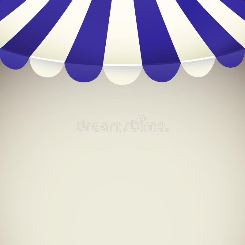 蓝色和白色小条有空间的商店遮篷文本的 向量例证