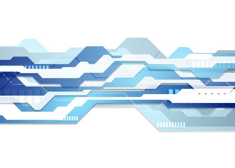 蓝色和白色技术几何飞行物背景 库存例证
