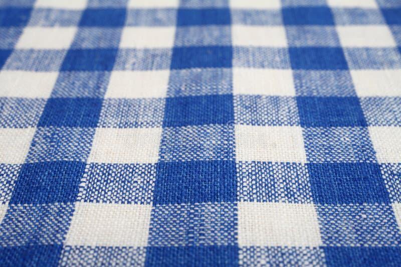 蓝色和白色方格的织品 免版税图库摄影
