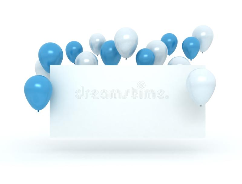 蓝色和白色气球和空白的生日贺卡 向量例证