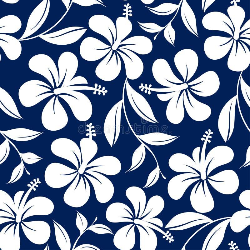 蓝色和白色热带木槿花和叶子无缝的轻拍 库存例证