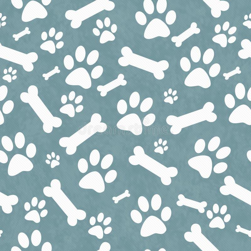 蓝色和白色狗爪子印刷品和骨头瓦片样式重复 皇族释放例证
