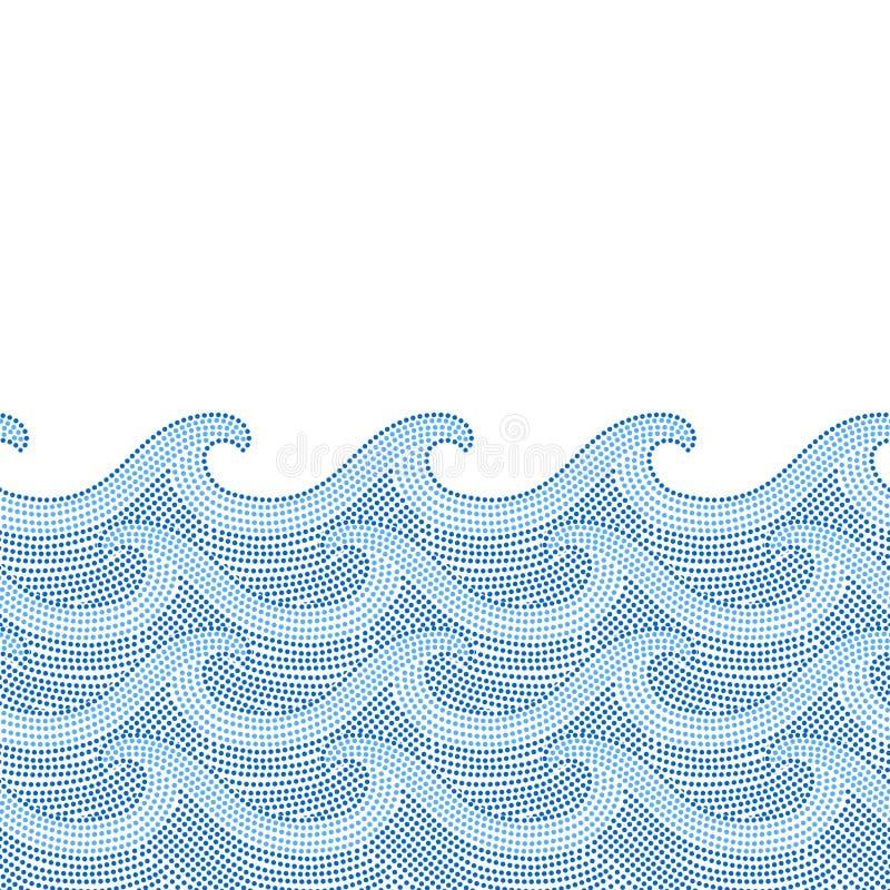 蓝色和白色被溺爱的海浪无缝的边界,传染媒介 库存例证