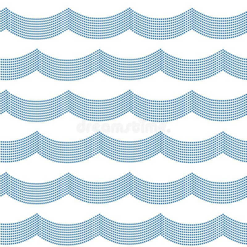 蓝色和白色被溺爱的简单的海浪无缝的样式,传染媒介 向量例证