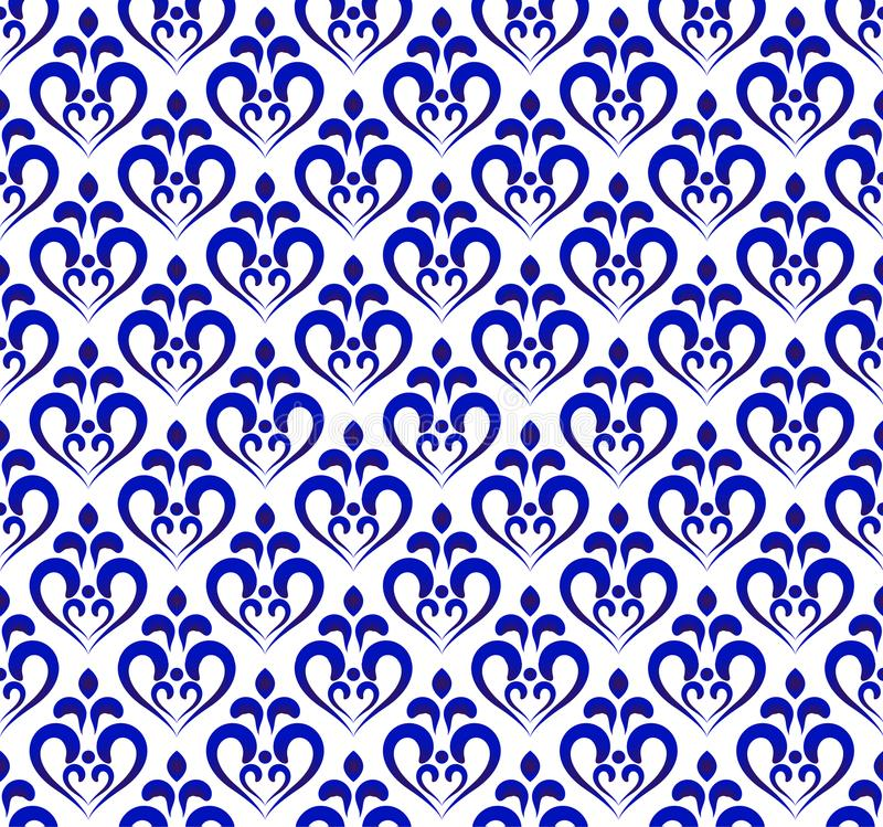 蓝色和白色锦缎样式 库存例证