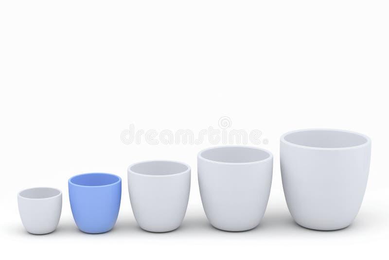 蓝色和白色陶瓷花盆集合,被回报的模型 向量例证