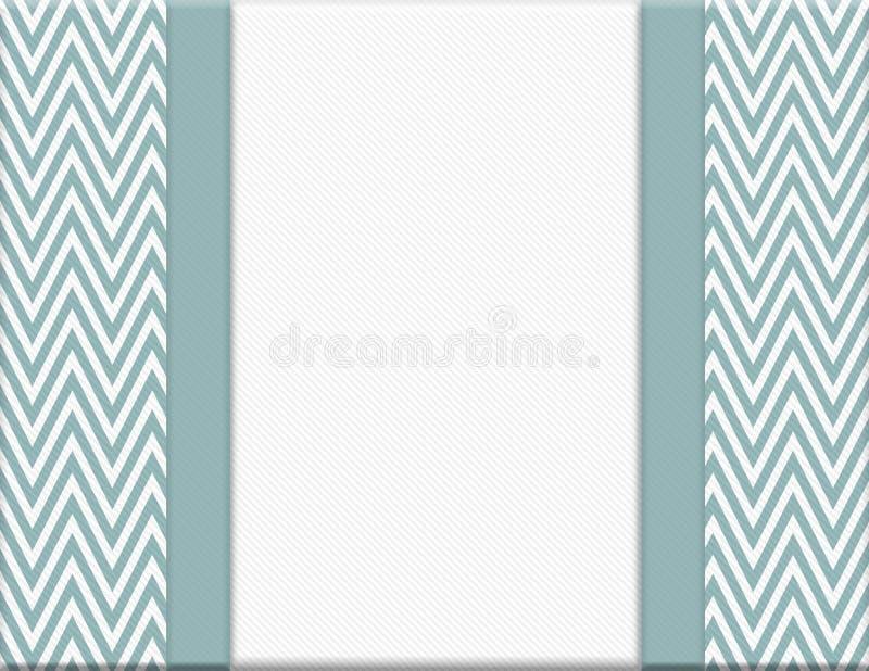 蓝色和白色雪佛之字形框架有丝带背景 向量例证