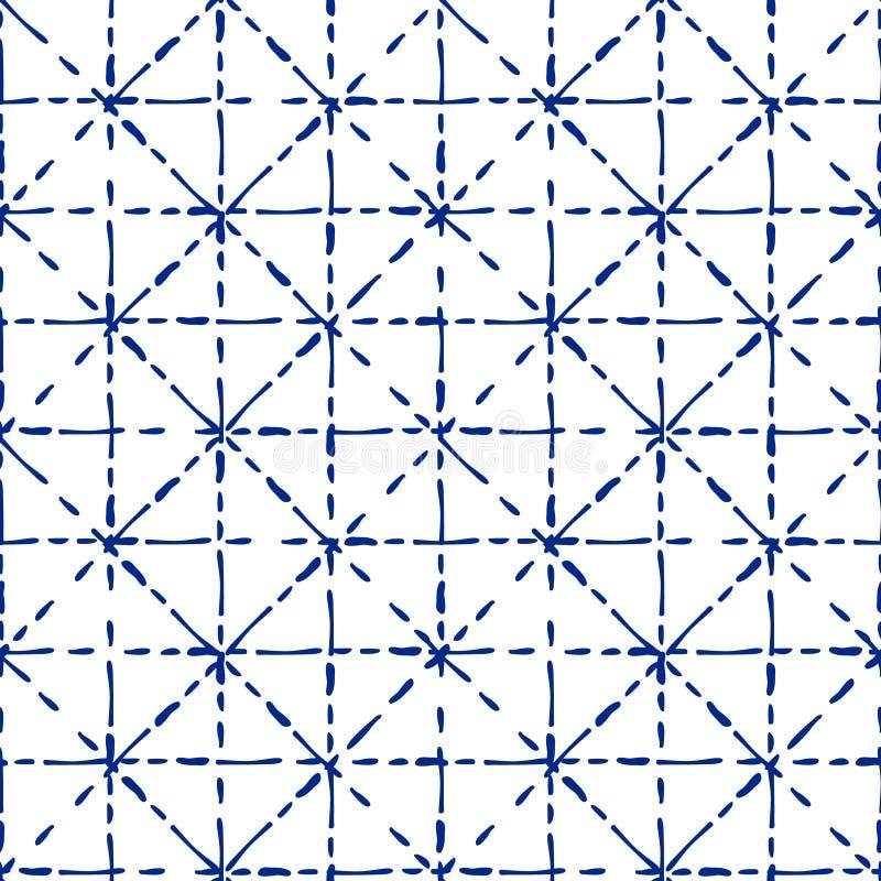 蓝色和白色shibori传统织品领带染料无缝的样式,传染媒介 向量例证