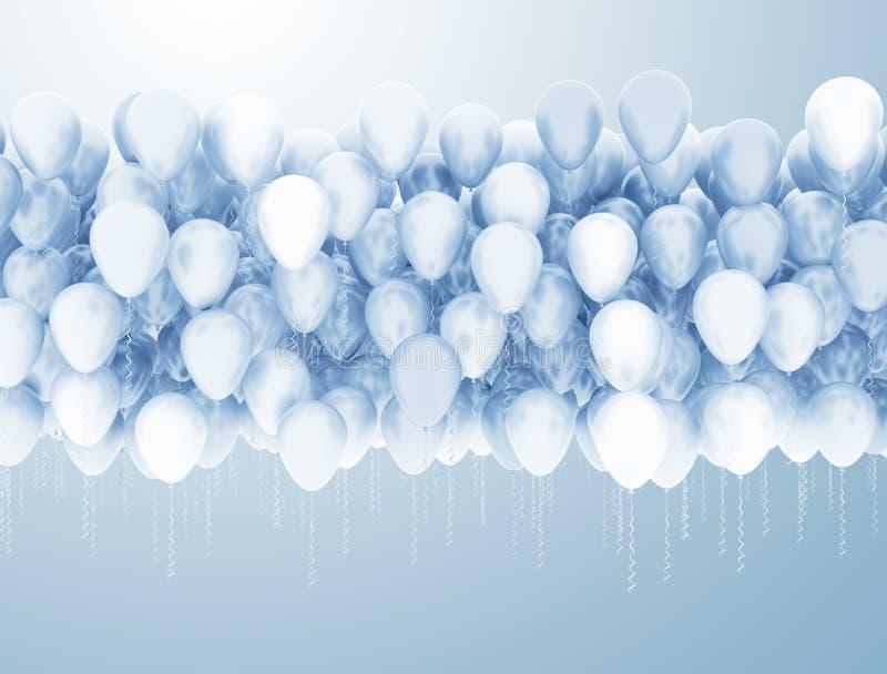 蓝色和空白气球 库存例证