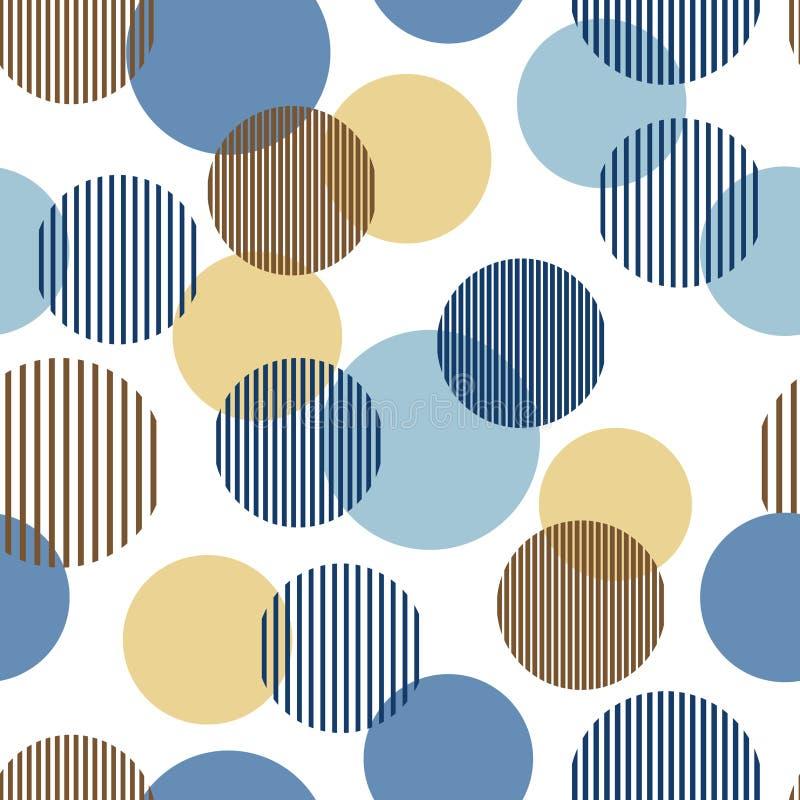 蓝色和米黄抽象简单的镶边圈子几何无缝的样式,传染媒介 库存例证