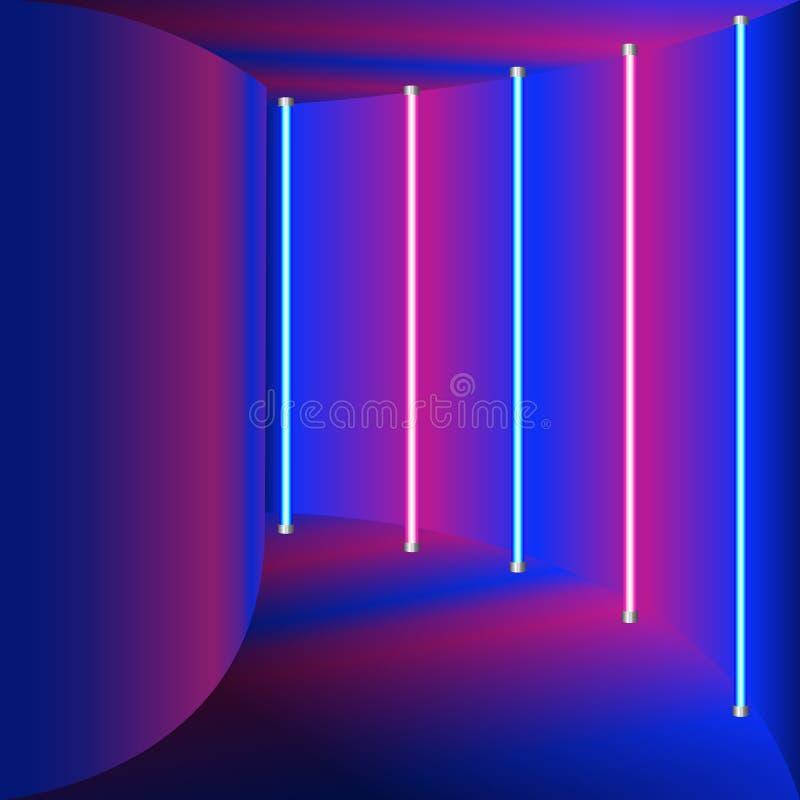 蓝色和紫色传染媒介例证-有霓虹焕发的抽象走廊 皇族释放例证
