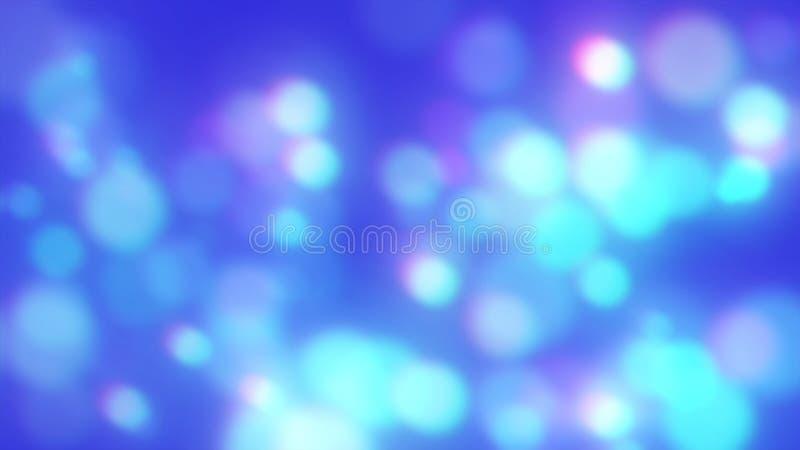 蓝色和紫色光发光的被弄脏的圈子  异想天开的摘要Bokeh背景 免版税库存图片