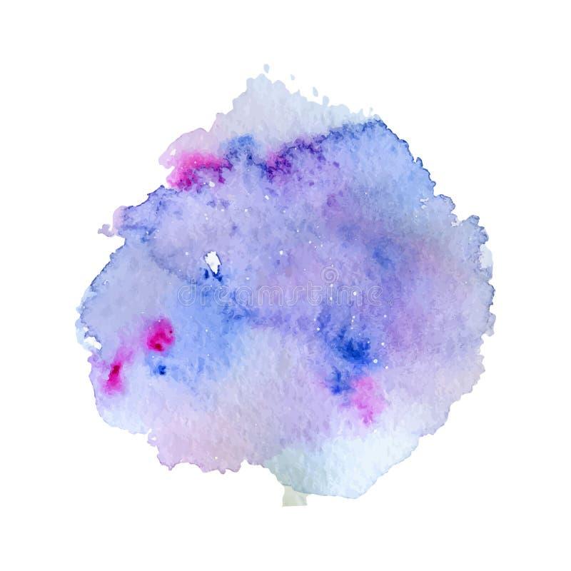 蓝色和紫色水彩飞溅、斑点、在白色背景隔绝的小点和条纹 皇族释放例证