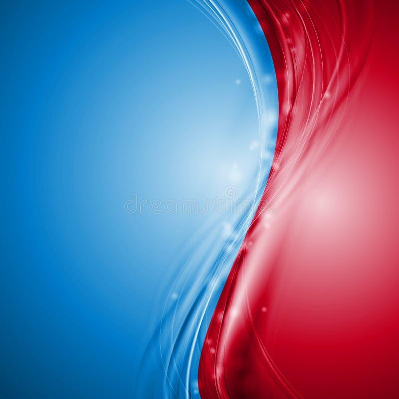 蓝色和红色抽象传染媒介波浪设计 皇族释放例证