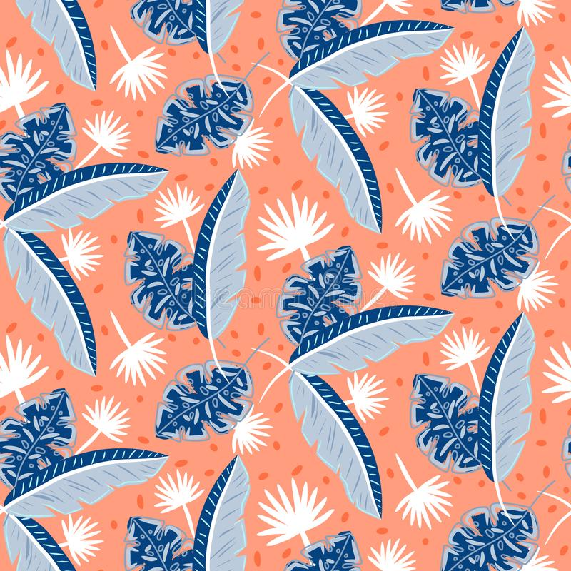 蓝色和红色热带海岛离开夏天无缝的印刷品的样式 皇族释放例证