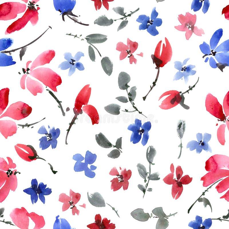 蓝色和红色花纹花样 库存例证