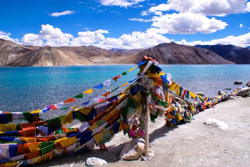 蓝色和绿松石Pangong Tso湖,拉达克 免版税图库摄影