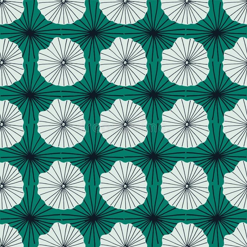 蓝色和绿色代表莲花叶子或水母在蜡染布的抽象有机形状的传染媒介无缝的重复样式部族 向量例证