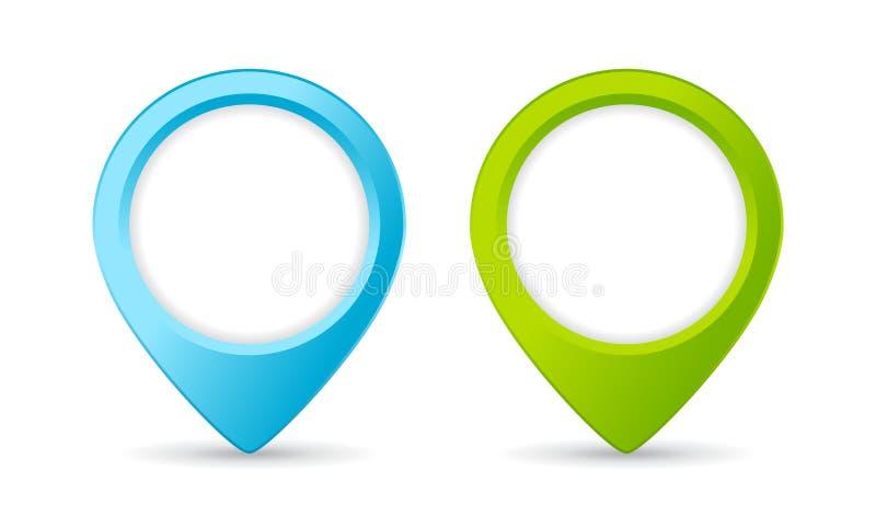 蓝色和绿色地点标志传染媒介象 向量例证