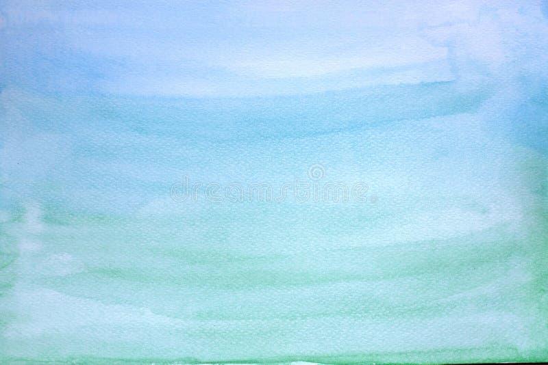 蓝色和绿色抽象水彩纹理背景 皇族释放例证