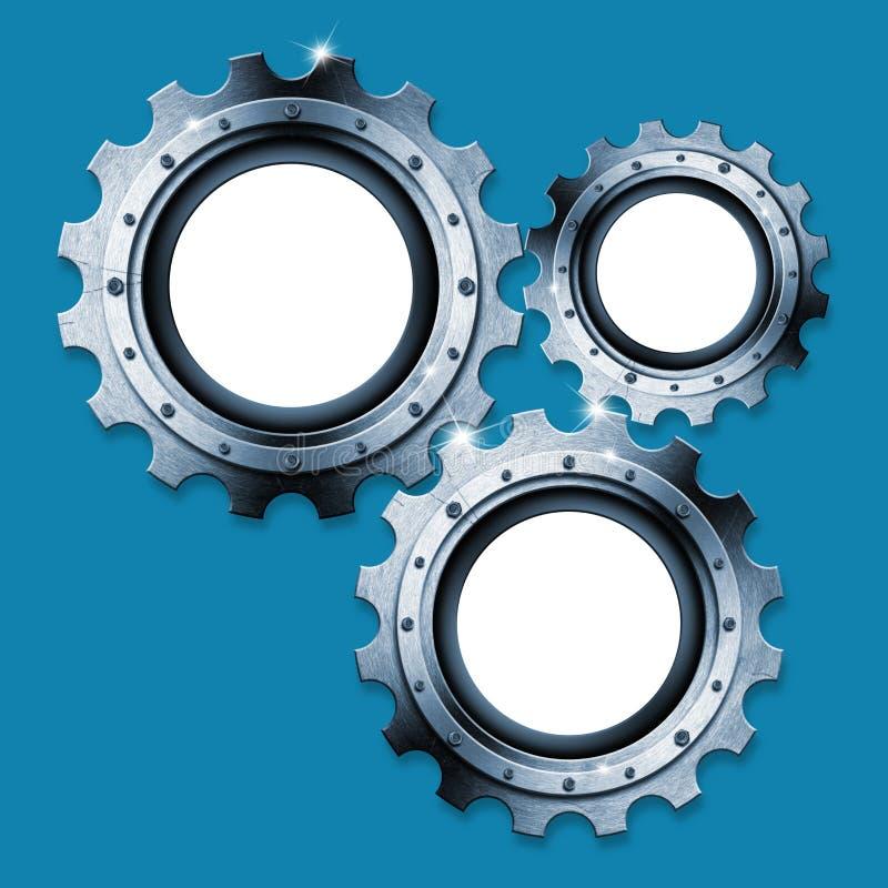 蓝色和金属工业齿轮背景 向量例证