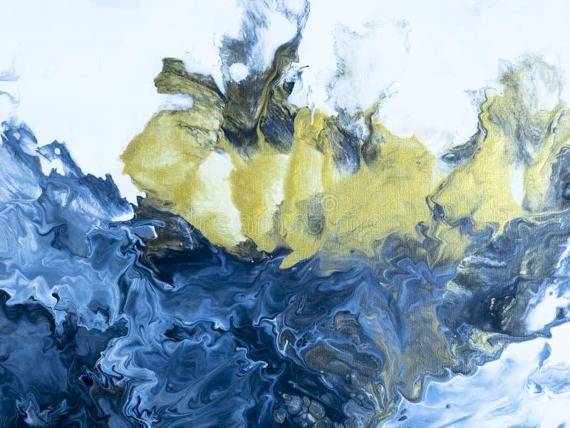 蓝色和金手画背景 向量例证