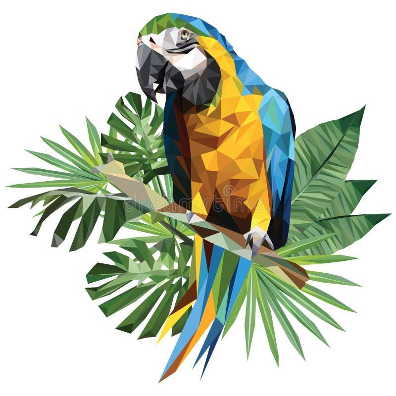 蓝色和金金刚鹦鹉例证多角形图画  皇族释放例证