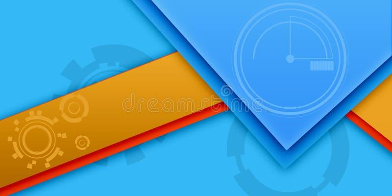 蓝色和黄色不同的抽象墙纸 库存例证