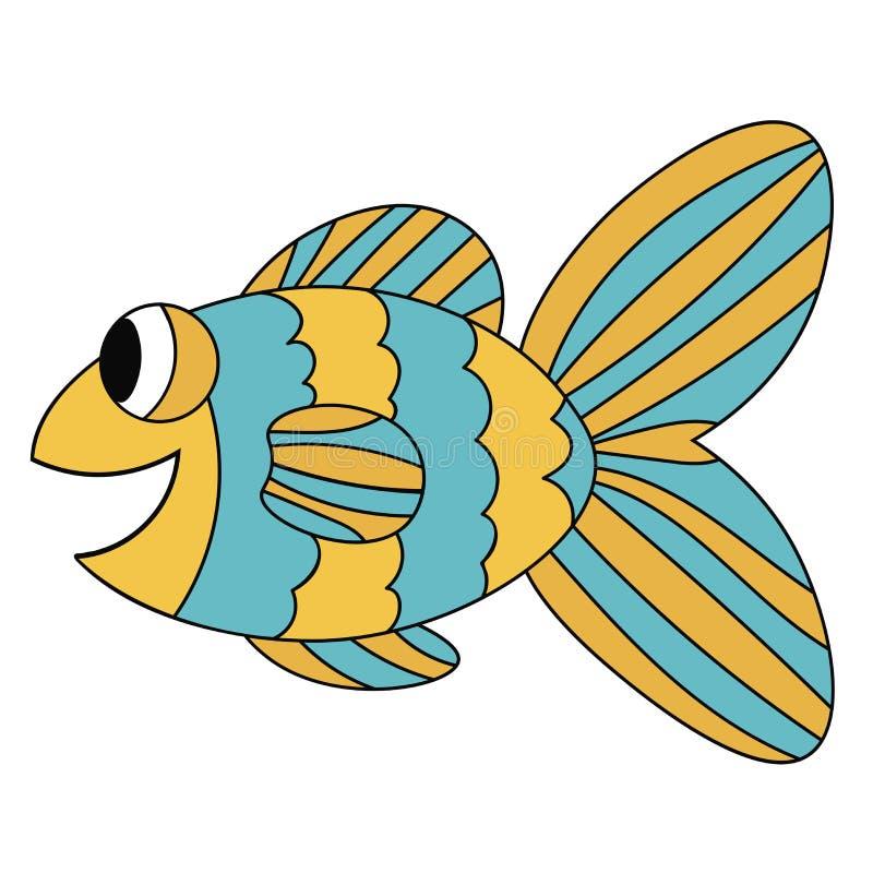 蓝色和黄色五颜六色的逗人喜爱的微笑的动画片鱼 手拉的稀薄的线热带水族馆动物 向量例证
