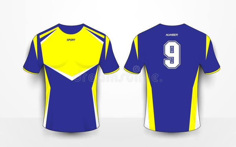 蓝色和黄色体育橄榄球成套工具,球衣, T恤杉设计模板 库存例证