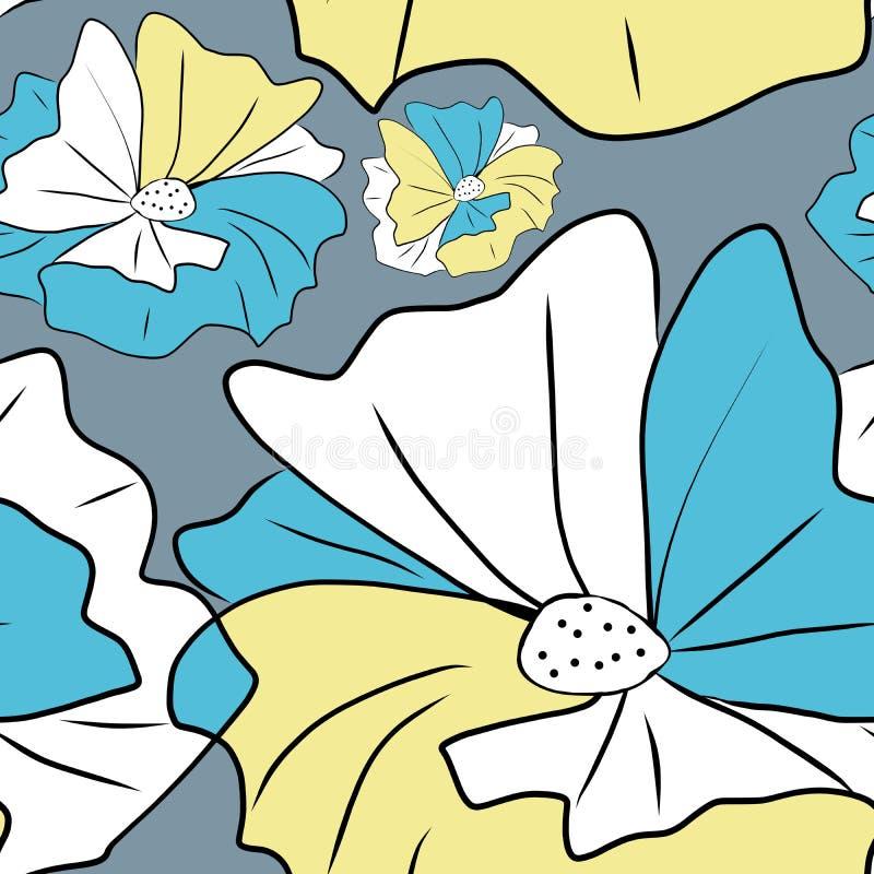 蓝色和黄色花开花-计算机图画,在灰色的无缝的样式 皇族释放例证