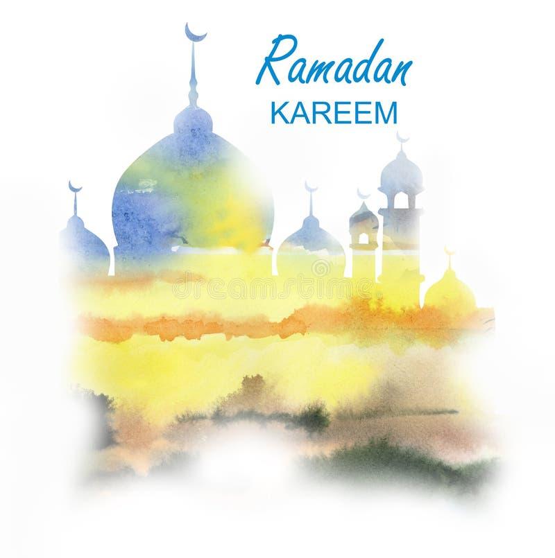 蓝色和黄色阴霾的古老清真寺 向量例证