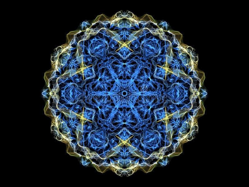 蓝色和黄色abstarct火焰坛场花,装饰花卉 皇族释放例证