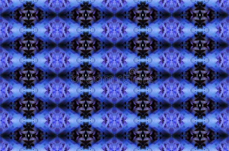 蓝色和黑复杂重复金刚石样式 免版税库存图片