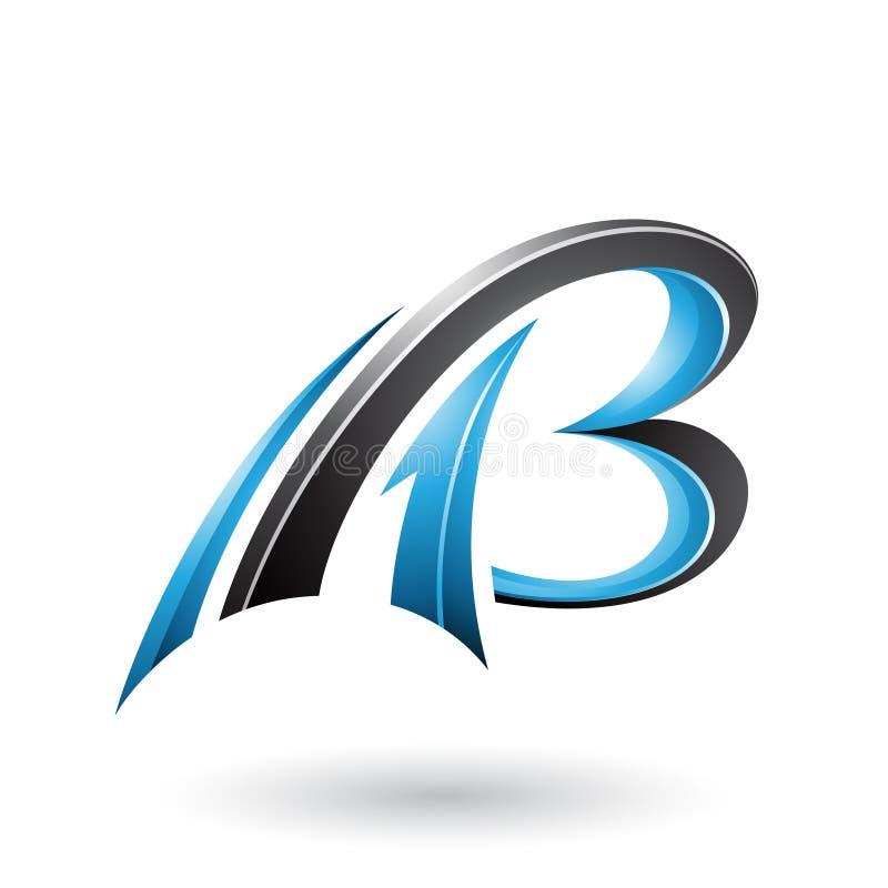 蓝色和黑飞行的动态3d信件在白色背景和B隔绝的A 向量例证