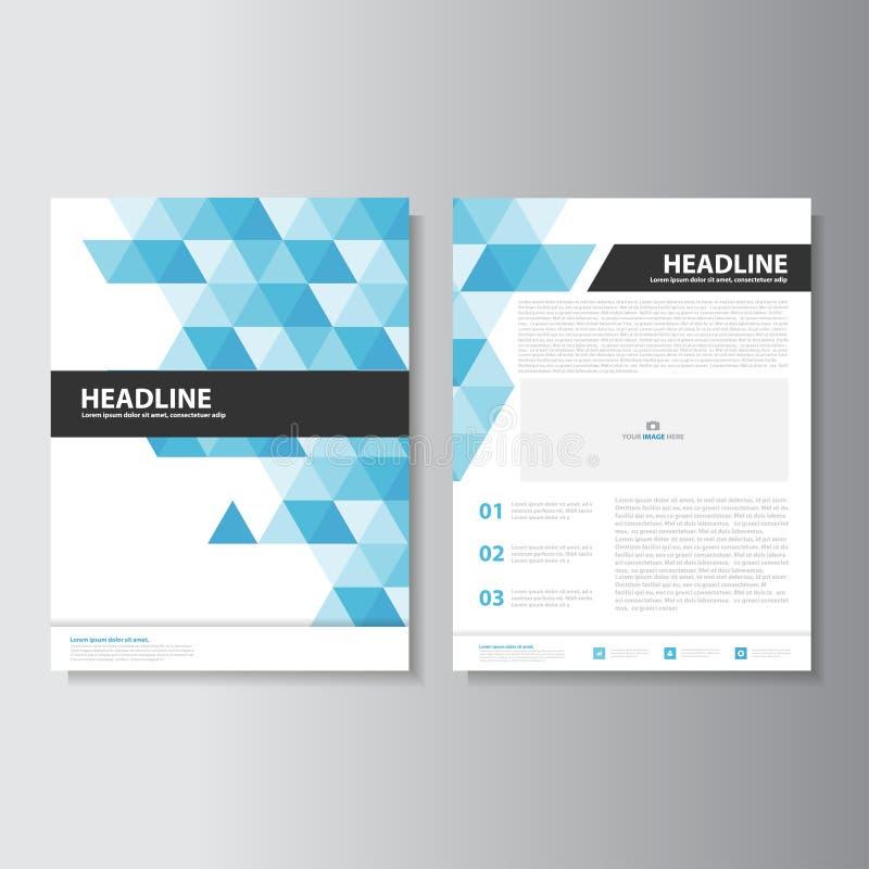 蓝色和黑小册子飞行物传单介绍模板Infographic元素平的设计为行销设置了 库存例证