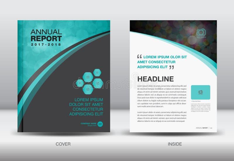 蓝色和黑年终报告模板盖子设计传染媒介 向量例证