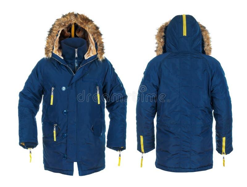蓝色和黄色人的有毛皮的粗呢夹克 免版税图库摄影