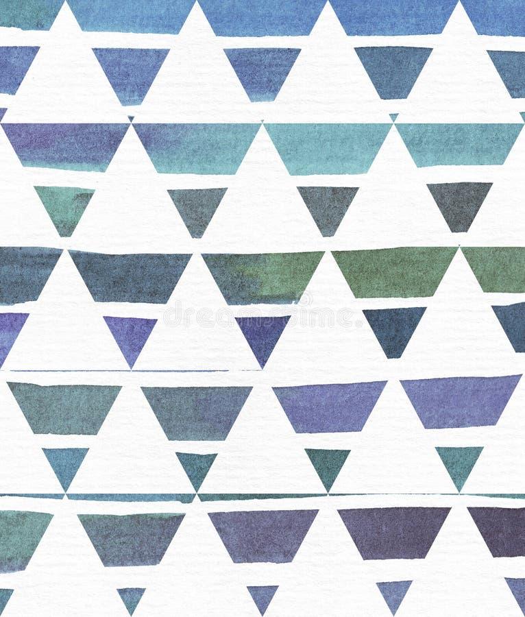 蓝色和紫色例证,冷却和根据水彩在经典等边trian的梯度条纹的烙记的徒手画的纹理 向量例证