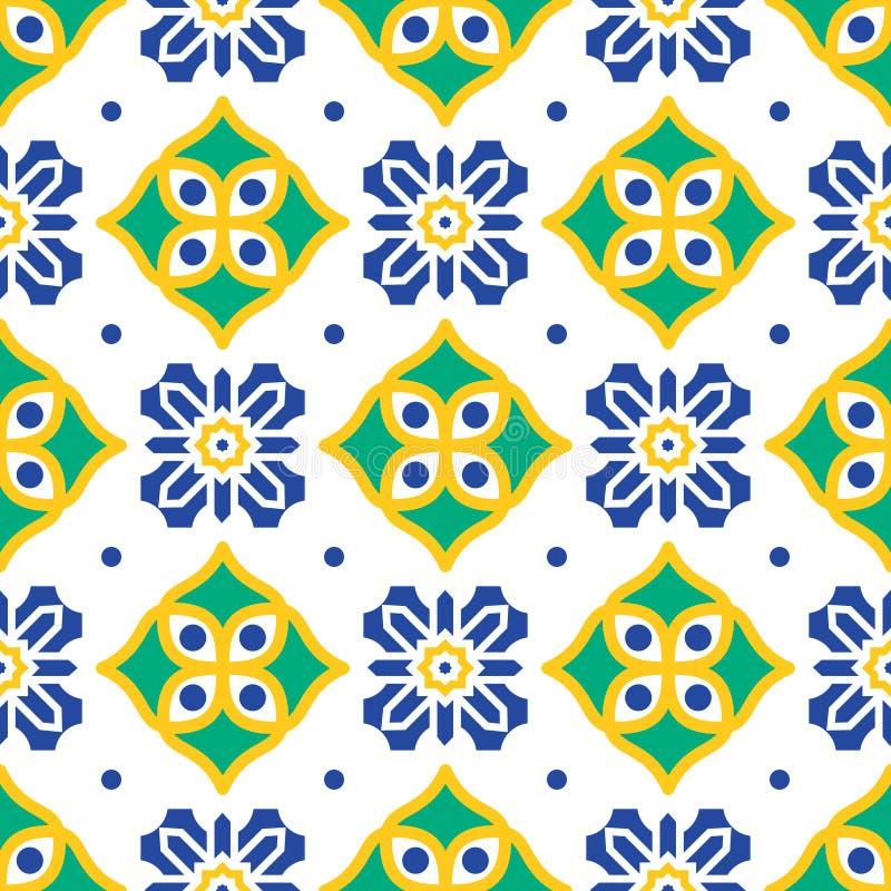 蓝色和绿色地中海无缝的瓦片样式 皇族释放例证