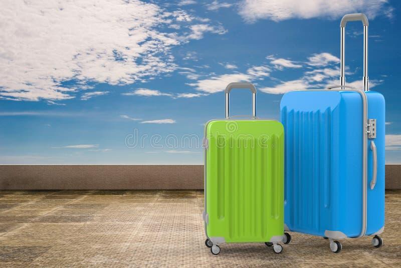 蓝色和绿色坚硬案件行李 向量例证