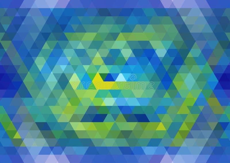 蓝色和黄色无缝的三角样式 几何抽象的背景 向量例证